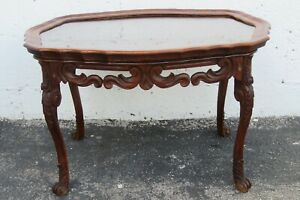 French Early 1900s Hand Carved Coffee Table with Serving Glass Tray 2357