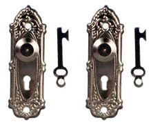 Opryland Door Handles In Black, Dolls House Door Accessory, Miniature 1.12 Scale
