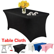 4/6ft Stretch Spandex Rectangular Tablecloth Tight Fit Table Cover Party Wedding