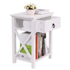 Shelf Bedroom Storage White Finish Nightstand Bedside Table 1 Drawer End Side