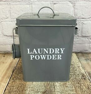 Laundry Powder Storage Tin Caddy Box in French Grey Painted Metal