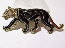 LARGE FEMALE LION ON THE PROWL BLACK ENAMEL DETAILED FANCY 1980'S FASHION