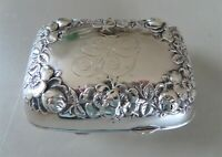 ANTIQUE STERLING SILVER PHIL PA SOAP BOX DISH ORNATE REPOUSSE FLORAL VICTORIAN
