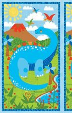 Dandy Dinos DIY Book or story quilt  Panel Cotton 24 by 43 inch
