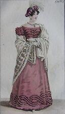 COSTUME PARISIEN, GRAVURE ORIGINALE DE 1823, COLORIS D'EPOQUE, n°2138