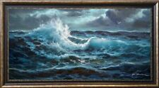 """EXTRA LARGE SEASCAPE """"OCEAN WAVES IN MOONLIGHT NIGHT"""" LISTED ARTIST OIL CANVAS"""