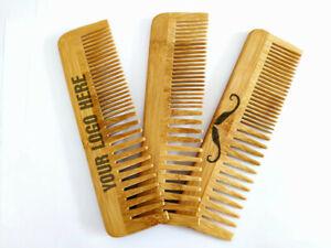 Customize Logo-Bamboo Wooden Combs Beard Care Comb Dual Kinds Tooth Wholesale