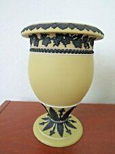"""Rare Wedgwood black on buff yellow dipped jasperware 8"""" Vase"""