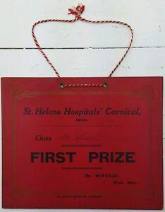 VINTAGE ST HELENS HOSPITAL CARNIVAL CARD 1935.1ST PRIZE.PROP/COLLECTABLE