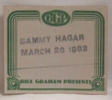 Sammy Hagar / Van Halen - 1982 Bill Graham Concert Cloth Backstage Pass *Last 1*