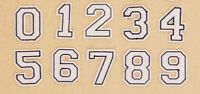 WHITE NUMBERS Iron on / Sew on Patch Embroidered Badge Motif Sport Uniform PT259
