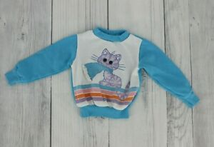 Vintage Baby Pullover Sweatshirt With Cat & Scarf Graphic Size 18 Months Blue