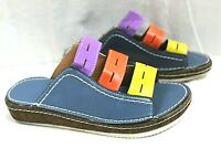 FASHION FOOTWEAR WOMENS CASUAL SLIP-ON SANDALS SIZE 8 MEDIUM FAUX LEATHER UPPER