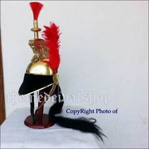 French Cuirassier Officer's Helmet Napoleon Style Brass Helmet W/ Plume Red Gift
