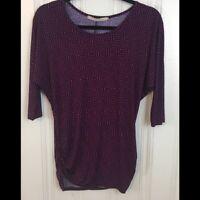 41 Hawthorn Stitch Fix Small Women's Purple Ruched Geometric Blouse 3/4 Sleeve