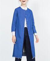 ZARA Womens Denim blue Round Neck Casual Long Jean Jacket Coat Size Large