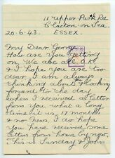 WWII 1943.6.20 Letter only from Clacton to George [Parkes] Japanese censor chop