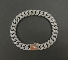 "Chain 9"" Bracelet Unique Classic 47G Granulation Textured Sterling Silver Curb"