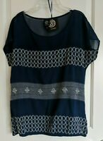 Nordstrom Bobeau Women Navy Blue Short Sleeve Blouse Ivory Embroidery Size Small