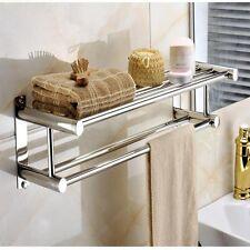 Double Chrome Wall Mounted Bathroom Towel Rail Holder Shelf Storage Rack Bar US