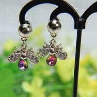 Fashion Bee Animals Colorful Crystal Charm Earrings Stud Hook Drop Dangle Women