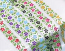 "Jacquard Ribbon 1"" Poly Flowers on Green Stems Pattern 18 Mtr Roll"