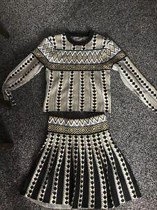 Ladies Wool Skirt Suit Size 8 - 10 Gold Black Unusual