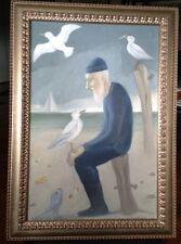 "Original Signed O/C Shalom Moskowitz (Der Zeegermacher), ""The Fisherman"""