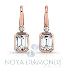 1.00 CARAT G VVS2 EMERALD CUT DIAMOND DROP BEZEL SET EARRINGS SET 18K ROSE GOLD
