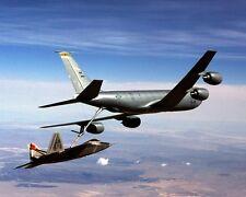 New 8x10 Photo: KC-135 Stratotanker Aircraft Refueling F-22 Raptor Fighter Jet