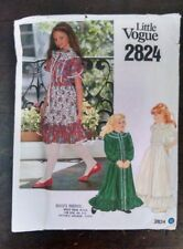 Vtg Little Vogue 2824 Girls Old Fashioned Dress Tulip Sleeves 10 Cut Complete
