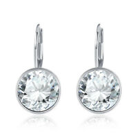 18K White Gold Plated Petite Round Austrian Crystal Drop Earrings in Clear