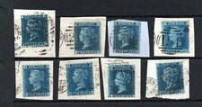 GB USED QV 21/2d BLUE PLATE 9 SELECTION ON PIECE
