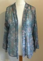 Next Size 12 Ladies Blue Cover Up Top With Floral Print Detail, BNWT