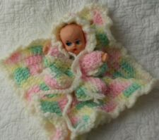 Vintage Small Plastic Thumb Sucking Baby Doll Crocheted In Small Baby Blanket
