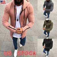 Mens Zip Up Hoodie Hoody Jacket Sweatshirt Casual Gym Hooded Coats Top Sweater