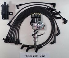FORD 260-289-302 BLACK Small HEI Distributor + Black 45K COIL + SPARK PLUG WIRES