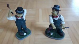 Dick und Doof Figuren Laurel und Hardy golfen Höhe 14cm