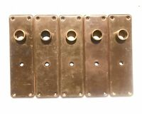 "Antique Door Knob Back Plate 7 1/4"" x 2 1/8"" Key Hole Pressed Metal Backplate"