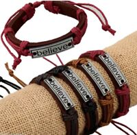 Adjustable Leather BELIEVE Bracelet Christian Bracelets Fashion Jewelry WWJD (1)