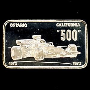 500 Race Car Ontario, CA 1970-1973 1oz 0.999 Proof Silver Swiss Bar - No Reserve
