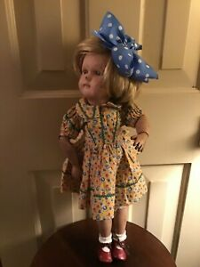 """ANTIQUE SCHOENHUT DOLL 1911 girl jointed wood Miss Dolly doll 17"""""""