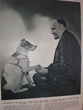 Photo article writer author Dr Arthur Bryant and his terrier dog Jimmy 1949