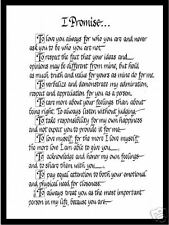 I Promise Matted Calligraphy Wedding Promise Great Gift