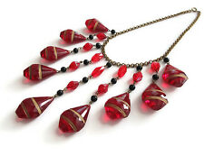 Art Deco Czech Glass Red Black Egyptian Revival Statement Necklace