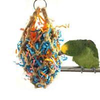 Pet Bird Parrot Parakeet Bite Toy Rope Paper Hanging Cage Chewing Mesh Bag M4Y9