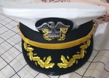 US Navy Commander Admiral Rank White Hat Cap All size Available