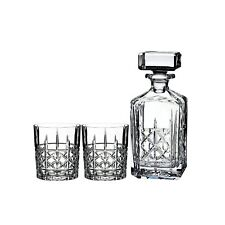 Waterford Marquis Brady Decanter Brandy & 2  Double Old Fashion Glasses NEW