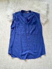 Mint Velvet Blue Buttoned Top Blouse Size 14 L Sleeveless
