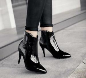 2019 Ladies Stilettos Toe Ankle Boots Patent Leather High Heel Shoes Zip Pointy